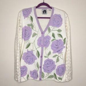 Storybook Knits Floral Knit Cardigan L